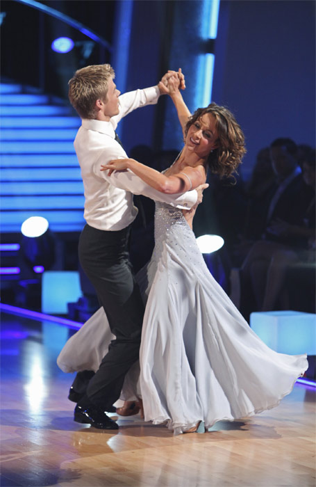 Jennifer Grey and Derek Hough perform on 'Dancing With the Stars,' Monday, Sept.  20, 2010. The judges gave the couple 24 points out of 30.