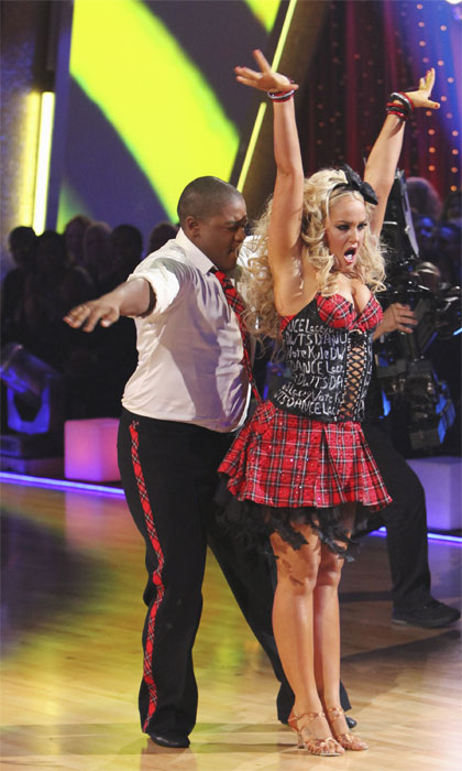 "<div class=""meta ""><span class=""caption-text "">Kyle Massey and Lacey Schwimmer perform on 'Dancing With the Stars,' Monday, Sept.  20, 2010. The judges gave the couple 23 points out of 30. (ABC Photo/ Adam Larkey)</span></div>"