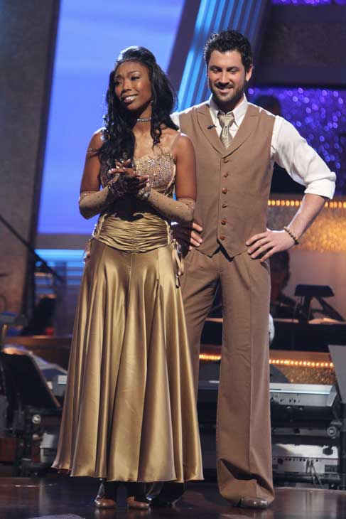 Brandy Norwood and Maksim Chmerkovskiy react to being safe on 'Dancing With the Stars: The Results Show,' Tuesday, Sept. 21, 2010. The judges gave the couple 23 points out of 30.