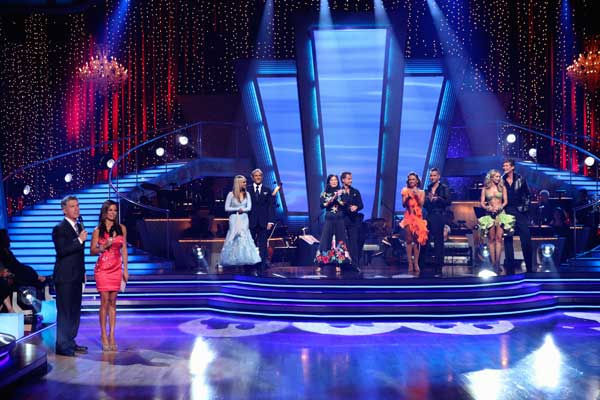 Chelsie Hightower, Michael Bolton, Margaret Cho, Louis Van Amstel, Karina Smirnoff, Mike ?The Situation? Sorrentino, Kym Johnson, and David Hasselhoff wait to hear their fate on &#39;Dancing With the Stars: The Results Show,&#39; Tuesday, Sept. 21, 2010.  <span class=meta>(ABC Photo&#47; Adam Larkey)</span>