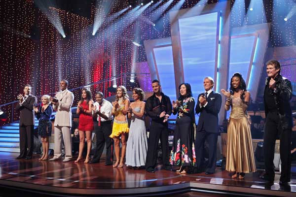 Kurt Warner, Florence Henderson, Rick Fox, Bristol Palin, Kyle Massey, Audrina Patridge, Jennifer Grey, Mike &#39;The Situation&#39; Sorrentino, Margaret Cho, Michael Bolton, Brandy, David Hasselhoff wait to hear their fate on &#39;Dancing With the Stars: The Results Show,&#39; Tuesday, Sept. 21, 2010.  <span class=meta>(ABC Photo&#47; Adam Larkey)</span>