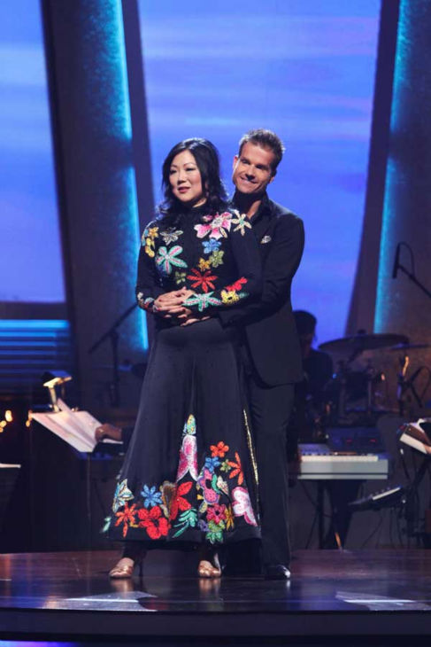"<div class=""meta ""><span class=""caption-text "">Comedian Margaret Cho and Louis Van Amstel react to being safe on 'Dancing With the Stars: The Results Show,' Tuesday, Sept.  21, 2010. The judges gave the couple 15 points out of 30. (ABC Photo/ Adam Larkey)</span></div>"