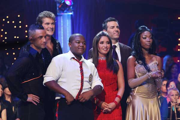 "<div class=""meta ""><span class=""caption-text "">Mike ?The Situation? Sorrentino, David Hasselhoff, Kyle Massey, Bristol Palin, Kurt Warner, Brandy wait to hear their fate on 'Dancing With the Stars: The Results Show,' Tuesday, Sept. 21, 2010.  (ABC Photo/ Adam Larkey)</span></div>"