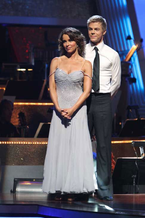 Jennifer Grey and Derek Hough react to being safe on &#39;Dancing With the Stars: The Results Show,&#39; Tuesday, Sept. 21, 2010. The judges gave the couple 24 points out of 30. <span class=meta>(ABC Photo&#47; Adam Larkey)</span>
