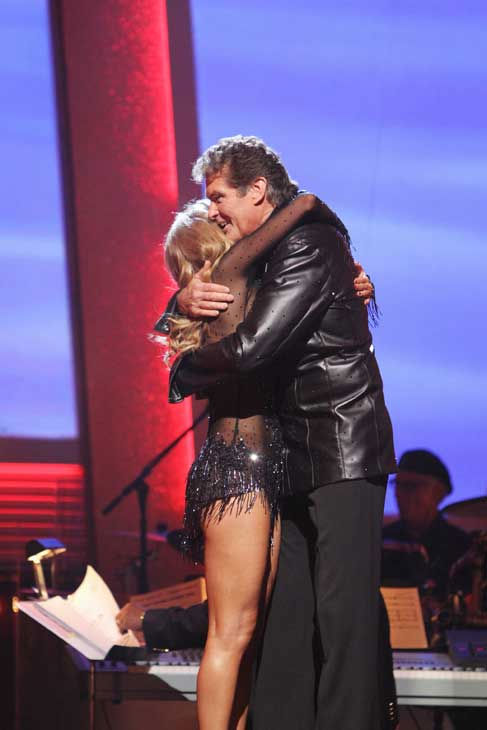 David Hasselhoff and Kym Johnson react to being eliminated on &#39;Dancing With the Stars: The Results Show,&#39; Tuesday, Sept. 21, 2010. The judges gave the couple 19 points out of 30. <span class=meta>(ABC Photo&#47; Adam Larkey)</span>