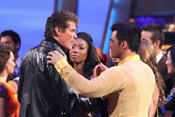 David Hasselhoff and Kym Johnson react to being eliminated on 'Dancing With the Stars: The Results Show,' Tuesday, Sept. 21, 2010. The judges gave the couple 19 points out of 30.