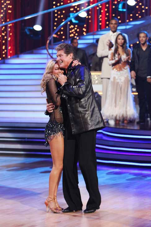David Hasselhoff and Kym Johnson react to being...