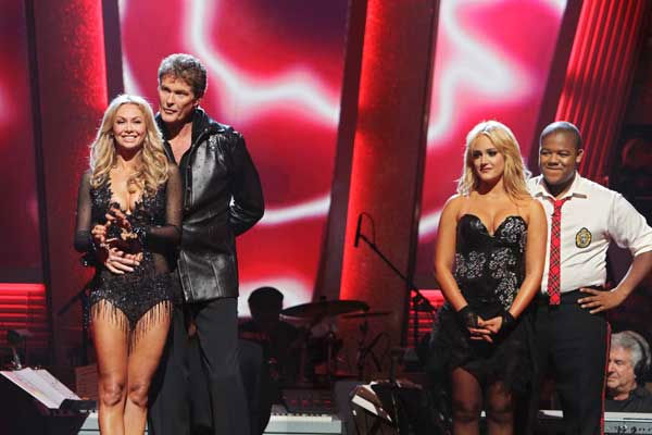 "<div class=""meta ""><span class=""caption-text "">David Hasselhoff and Kym Johnson and Kyle Massey and Lacey Schwimmer await their fate 'Dancing With the Stars' Tuesday, Sept. 21, 2010. (ABC Photo/ Adam Larkey)</span></div>"