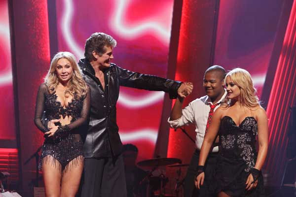 David Hasselhoff and Kym Johnson and Kyle Massey and Lacey Schwimmer await their fate &#39;Dancing With the Stars&#39; Tuesday, Sept. 21, 2010. <span class=meta>(ABC Photo&#47; Adam Larkey)</span>