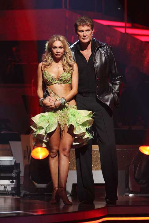 "<div class=""meta ""><span class=""caption-text "">David Hasselhoff and Kym Johnson wait to heat their fate on 'Dancing With the Stars: The Results Show,' Tuesday, Sept. 21, 2010. The judges gave the couple 19 points out of 30. (ABC Photo/ Adam Larkey)</span></div>"