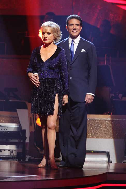 "<div class=""meta ""><span class=""caption-text "">Florence Henderson and Corky Ballas wait to hear their fate on 'Dancing With the Stars: The Results Show,' Tuesday, Sept.  21, 2010. The judges gave the couple 18 points out of 30. (ABC Photo/ Adam Larkey)</span></div>"