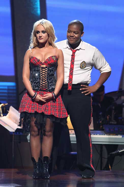 "<div class=""meta ""><span class=""caption-text "">Kyle Massey and Lacey Schwimmer wait to hear their fate on 'Dancing With the Stars: The Results Show,' Tuesday, Sept. 21, 2010. The judges gave the couple 23 points out of 30. (ABC Photo/ Adam Larkey)</span></div>"