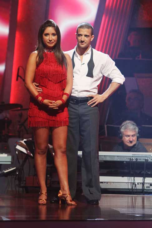 "<div class=""meta ""><span class=""caption-text "">Bristol Palin and Mark Ballas wait to hear their fate on 'Dancing With the Stars: The Results Show,' Tuesday, Sept. 21, 2010. The judges gave the couple 18 points out of 30. (ABC Photo/ Adam Larkey)</span></div>"
