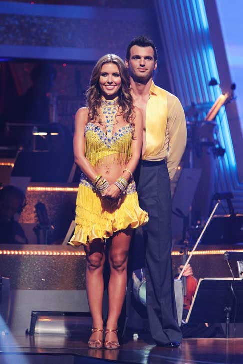 "<div class=""meta ""><span class=""caption-text "">Audrina Patridge and Tony Dovolani wait to hear their fate on 'Dancing With the Stars: The Results Show,' Tuesday, Sept. 21, 2010. The judges gave the couple 19 points out of 30. (ABC Photo/ Adam Larkey)</span></div>"