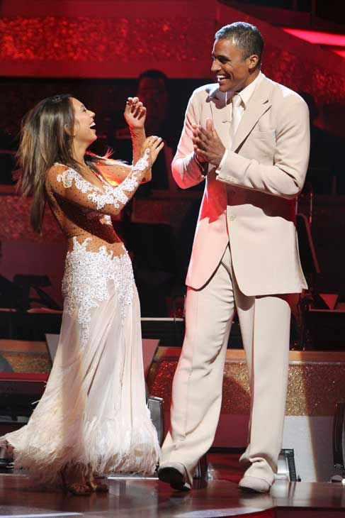 "<div class=""meta ""><span class=""caption-text "">Rick Fox and Cheryl Burke react to being safe on 'Dancing With the Stars: The Results Show,' Tuesday, Sept. 21, 2010. The judges gave the couple 24 points out of 30. (ABC Photo/ Adam Larkey)</span></div>"