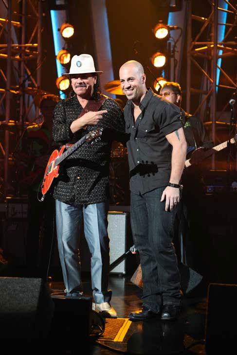 "<div class=""meta ""><span class=""caption-text "">Carlos Santana and Chris Daughtry pose together at 'Dancing With the Stars: The Results Show,' Tuesday, Sept. 21, 2010. (ABC Photo/ Adam Larkey)</span></div>"