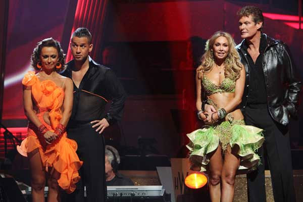 "<div class=""meta ""><span class=""caption-text "">Mike 'The Situation' Sorrentino and Karina Smirnoff and David Hasselhoff and Kym Johnson wait to hear their fate on 'Dancing With the Stars: The Results Show,' Tuesday, Sept. 21, 2010.  (ABC Photo/ Adam Larkey)</span></div>"