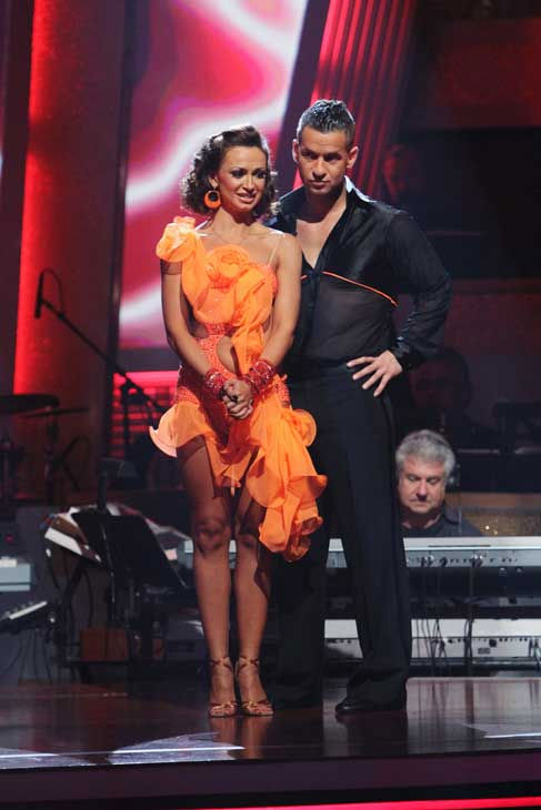 Mike 'The Situation' Sorrentino and Karina Smirnoff and wait to hear their fate on 'Dancing With the Stars: The Results Show,' Tuesday, Sept. 21, 2010. The judges gave the couple 15 points out of 30.