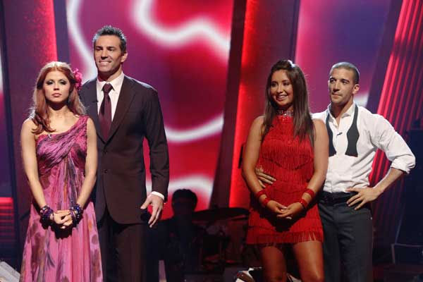 Kurt Warner and Anna Trebunskaya and Bristol Palin and Mark Ballas wait to hear their fate on &#39;Dancing With the Stars: The Results Show,&#39; Tuesday, Sept. 21, 2010.  <span class=meta>(ABC Photo&#47; Adam Larkey)</span>