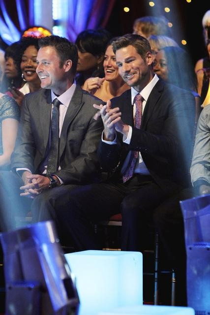 &#39;The Bachelor&#39; host Chris Harrison and new &#39;Bachelor Brad Womack are seen in the audience on &#39;Dancing With the Stars,&#39; Monday, Sept. 27, 2010. <span class=meta>(ABC&#47; Adam Larkey)</span>