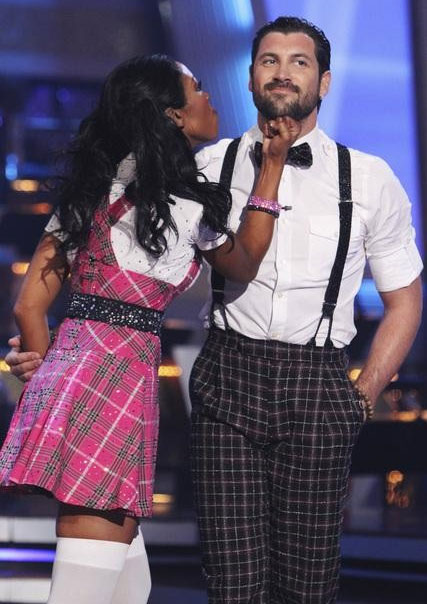 Brandy Norwood and Maksim Chmerkovskiy perform on 'Dancing With the Stars,' Monday, Sept. 27, 2010. The judges gave the couple 21 points out of 30.