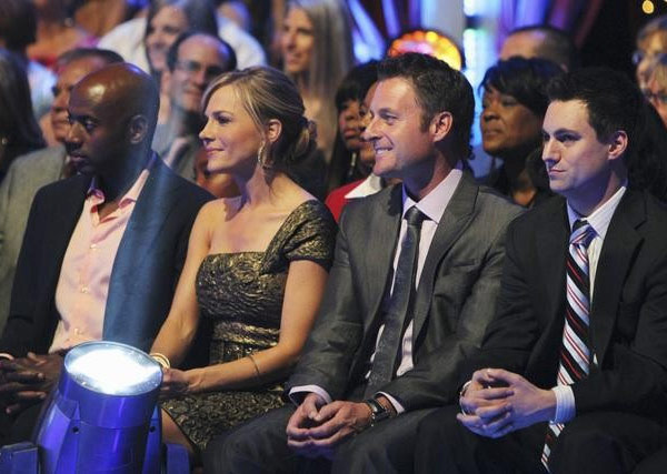 Actor Romany Malco, actress Julie Benz, &#39;The Bachelor&#39; host Chris Harrison, Jonathan Novack from &#39;The Bachelorette&#39; Season 6 are seen in the audience on &#39;Dancing With the Stars,&#39; Monday, Sept. 27, 2010. <span class=meta>(ABC&#47; Adam Larkey)</span>