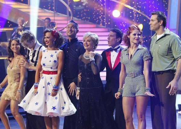 Jennifer Grey, Derek Hough, Karina Smirnoff, Mike &#39;The Situation&#39; Sorrentino, Florence Henderson, Corky Ballas, Anna Trebunskaya, and Kurt Warner on &#39;Dancing With the Stars,&#39; Monday, Sept. 27, 2010. <span class=meta>(ABC&#47; Adam Larkey)</span>