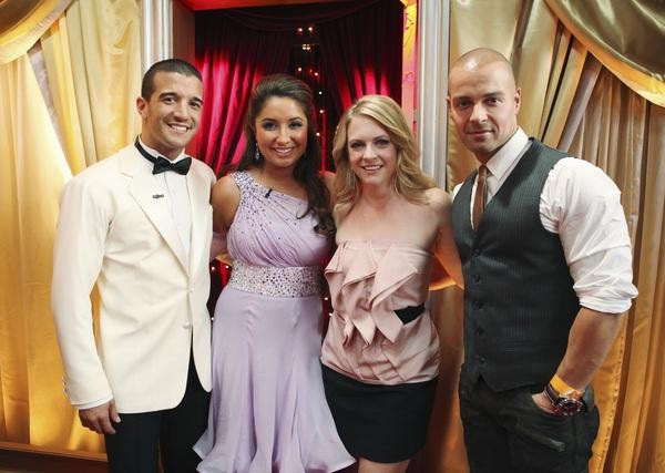 Mark Ballas, Bristol Palin, and former contestants Melissa Joan Hart and Joey Lawrence are seen backstage on &#39;Dancing With the Stars,&#39; Monday, Sept. 27, 2010. <span class=meta>(ABC&#47; Adam Larkey)</span>