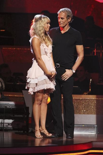 "<div class=""meta ""><span class=""caption-text "">Michael Bolton and Chelsie Hightower wait to hear their fate on 'Dancing With the Stars: The Results Show,' Tuesday, Sept. 28, 2010. The judges gave the couple 12 points out of 30. (Adam Larkey)</span></div>"