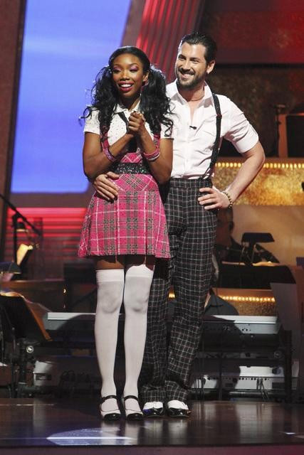 Brandy Norwood and Maksim Chmerkovskiy wait to hear their fate on &#39;Dancing With the Stars: The Results Show,&#39; Tuesday, Sept. 28, 2010. The judges gave the couple 21 points out of 30. <span class=meta>(Adam Larkey)</span>