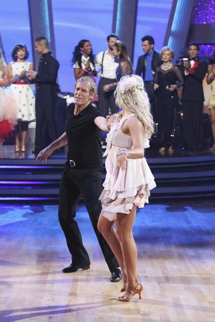 Michael Bolton and Chelsie Hightower say goodbye after being eliminated on &#39;Dancing With the Stars: The Results Show,&#39; Tuesday, Sept. 28, 2010. The judges gave the couple 12 points out of 30. <span class=meta>(Adam Larkey)</span>