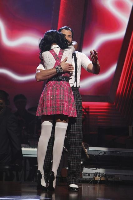 Brandy Norwood and Maksim Chmerkovskiy react to being safe on &#39;Dancing With the Stars: The Results Show,&#39; Tuesday, Sept.  28, 2010. The judges gave the couple 21 points out of 30. <span class=meta>(Adam Larkey)</span>