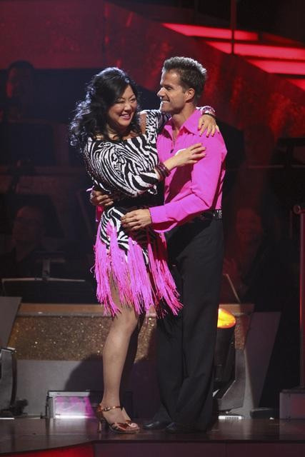 Comedian Margaret Cho and Louis Van Amstel react to being safe on 'Dancing With the Stars: The Results Show,' Tuesday, Sept.  28, 2010. The judges gave the couple 18 points out of 30.