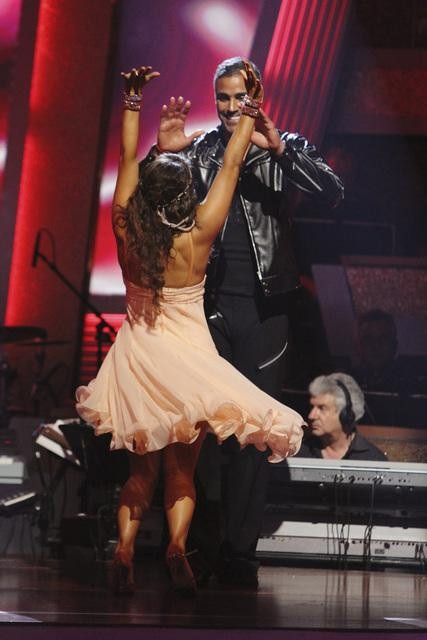 Rick Fox and Cheryl Burke react to being safe on 'Dancing With the Stars: The Results Show,' Tuesday, Sept.  28, 2010. The judges gave the couple 21 points out of 30.