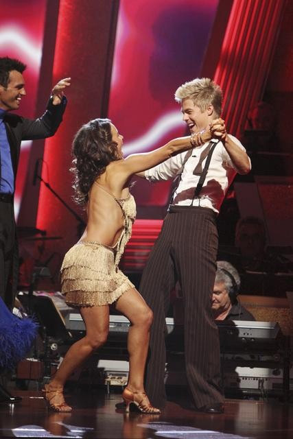 Jennifer Grey and Derek Hough react to being safe on 'Dancing With the Stars: The Results Show,' Tuesday, Sept.  28, 2010. The judges gave the couple 24 points out of 30.