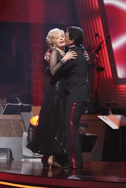 Florence Henderson and Corky Ballas react to being safe on &#39;Dancing With the Stars: The Results Show,&#39; Tuesday, Sept.  28, 2010. The judges gave the couple 19 points out of 30. <span class=meta>(Adam Larkey)</span>