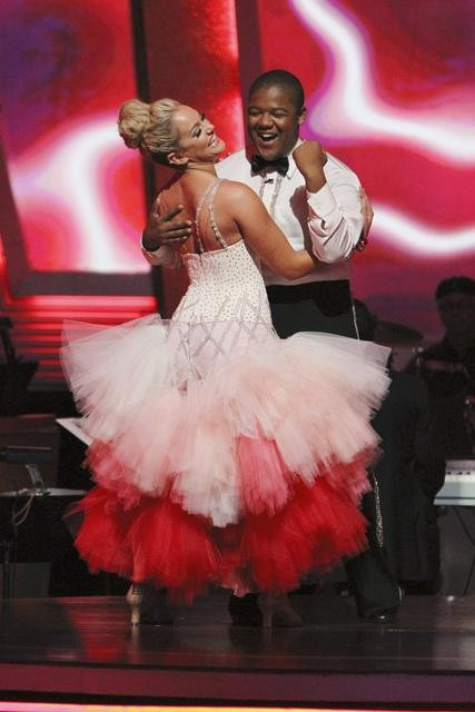 Kyle Massey and Lacey Schwimmer wait to hear their fate on &#39;Dancing With the Stars: The Results Show,&#39; Tuesday, Sept. 28, 2010. The judges gave the couple 22 points out of 30. <span class=meta>(Adam Larkey)</span>