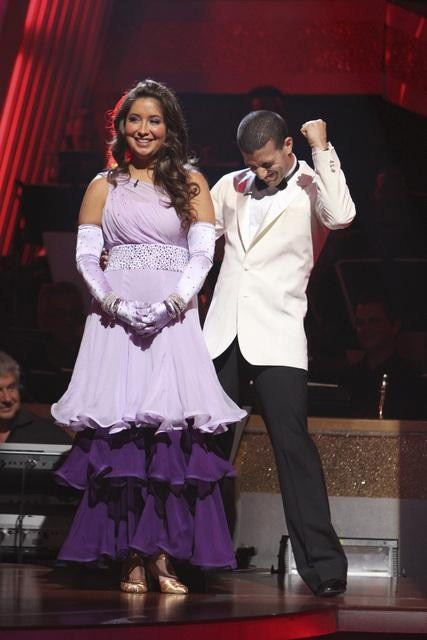 Bristol Palin and Mark Ballas react to being safe on 'Dancing With the Stars: The Results Show,' Tuesday, Sept.  28, 2010. The judges gave the couple 22 points out of 30.