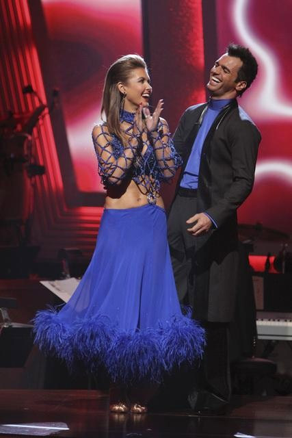 Audrina Patridge and Tony Dovolani react to being safe on &#39;Dancing With the Stars: The Results Show,&#39; Tuesday, Sept.  28, 2010. The judges gave the couple 23 points out of 30. <span class=meta>(Adam Larkey)</span>