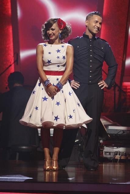 Mike &#39;The Situation&#39; Sorrentino and Karina Smirnoff wait to hear their fate on &#39;Dancing With the Stars: The Results Show,&#39; Tuesday, Sept. 28, 2010.  The judges gave the couple 18 points out of 30. <span class=meta>(Adam Larkey)</span>