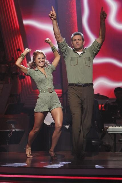 Kurt Warner and Anna Trebunskaya react to being safe on &#39;Dancing With the Stars: The Results Show,&#39; Tuesday, Sept.  28, 2010. The judges gave the couple 21 points out of 30. <span class=meta>(Adam Larkey)</span>