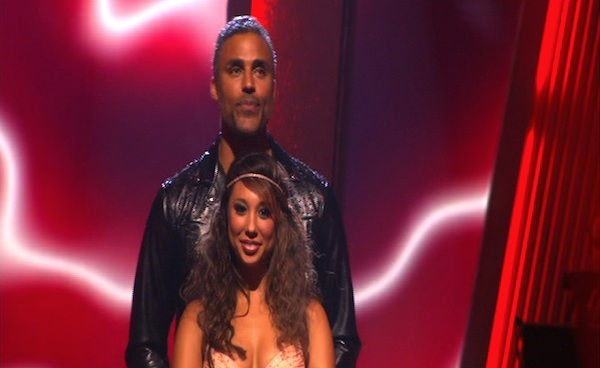 "<div class=""meta ""><span class=""caption-text "">Rick Fox and Cheryl Burke wait to hear their fate on 'Dancing With the Stars: The Results Show,' Tuesday, Sept. 27, 2010. The judges gave the couple 21 points out of 30. (ABC Photo)</span></div>"
