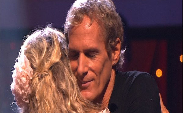 Michael Bolton and Chelsie Hightower react to being eliminated on 'Dancing With the Stars: The Results Show,' Tuesday, Sept. 28, 2010. The judges gave the couple 12 points out of 30.