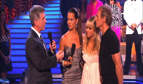 Michael Bolton and Chelsie Hightower react to being eliminated on &#39;Dancing With the Stars: The Results Show,&#39; Tuesday, Sept. 28, 2010. The judges gave the couple 12 points out of 30. <span class=meta>(ABC Photo)</span>