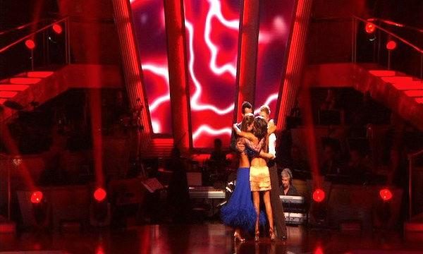 "<div class=""meta image-caption""><div class=""origin-logo origin-image ""><span></span></div><span class=""caption-text"">Jennifer Grey, Derek Hough, Audrina Patridge, and Tony Dovolani react to being safe on 'Dancing With the Stars: The Results Show,' Tuesday, Sept.  28, 2010. (ABC Photo)</span></div>"