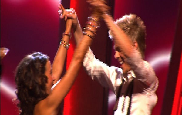 Jennifer Grey and Derek Hough react to being safe on &#39;Dancing With the Stars: The Results Show,&#39; Tuesday, Sept.  27, 2010. The judges gave the couple 24 points out of 30. <span class=meta>(ABC Photo)</span>