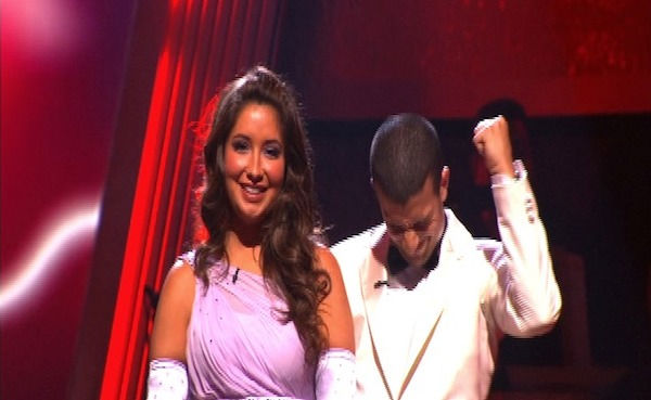 Bristol Palin and Mark Ballas react to being safe on 'Dancing With the Stars: The Results Show,' Tuesday, Sept.  27, 2010. The judges gave the couple 22 points out of 30.