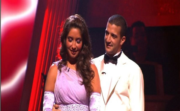 Bristol Palin and Mark Ballas wait to hear their fate on &#39;Dancing With the Stars: The Results Show,&#39; Tuesday, Sept. 28, 2010. The judges gave the couple 22 points out of 30. <span class=meta>(ABC Photo)</span>