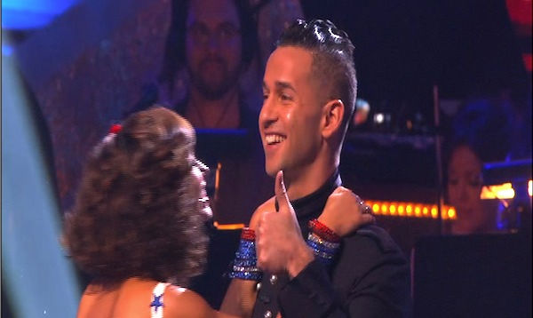 Mike 'The Situation' Sorrentino and Karina Smirnoff react to being safe on 'Dancing With the Stars: The Results Show,' Tuesday, Sept.  28, 2010. The judges gave the couple 18 points out of 30.