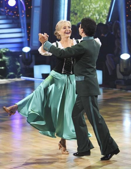 Florence Henderson and Corky Ballas perform on...